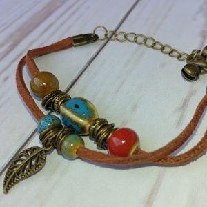 Jewelry - Leather Leaf & Beads Bracelet Adjustable New